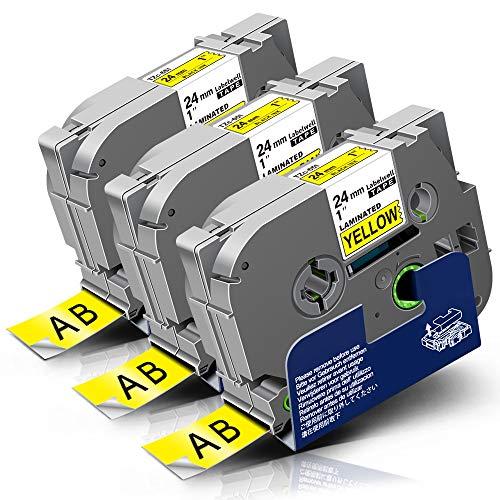 3x Labelwell Tzc-651 24MM Schwarz auf Gelb Kompatibel Schriftband Ersatz für Brother TZ Tze-651 Tze651 für P-Touch CUBE Plus PT-P710BT PT-P700 E500VP P750W D600VP H500 H500LI D800W Beschriftungsgerät