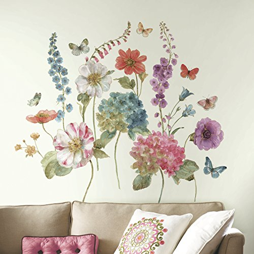 RoomMates RMK3261GM Lisa Audit Garden Flowers Peel And Stick Giant Wall Decals,Multicolor