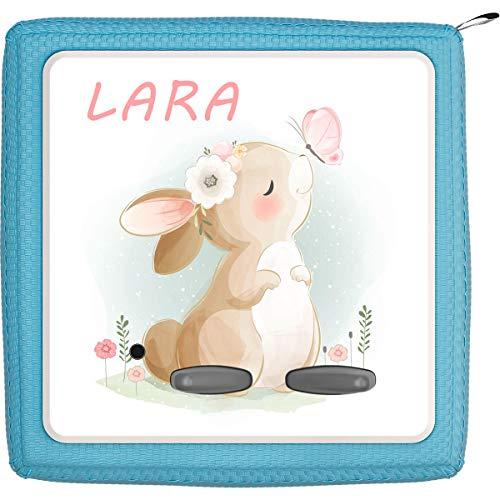 Coverlounge Schutzfolie passend für die Toniebox | Folie Sticker | Hase schnuppert an Schmetterling mit Name personalisiert