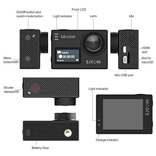 SJCAM SJ6 Legend, Cámara deportiva 4K de 16 MP, procesador Novatek 96660, WiFi, pantalla táctil de 2.0'', color negro