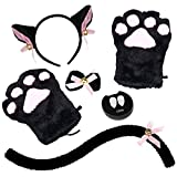 Abida Cat Cosplay Costume - 5 Pcs Cat Ear and Tail Set with Collar Paws Gloves and Vampire Teeth Fangs for Lolita Gothic Halloween-Black