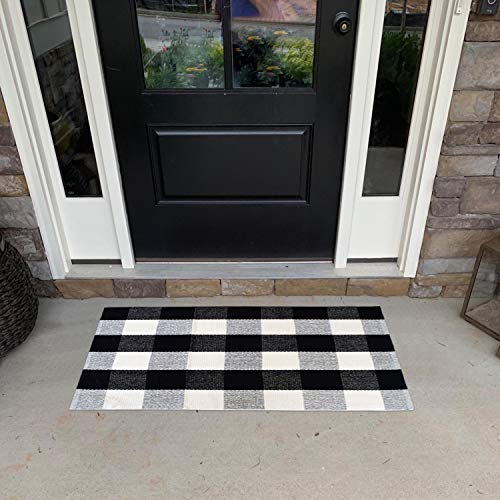USTIDE 2'x3' Cotton Buffalo Plaid Rug Black and White Plaid Checkered Outdoor Porch Rugs Hand-Woven Braided Rug Farmhouse Rug Gingham Rug