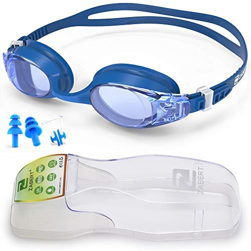 ZABERT Schwimmbrille mit Sehstärke Kurzsichtigkeit Myopie Schwimmbrillen, Antibeschlag Kurzsichtig Optische Gläser Schwimmbrille, für Erwachsene Damen Herren Kinder Dioptrien -4.0 Blau