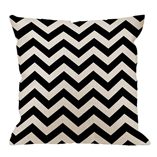 HGOD DESIGNS Chevron Pillow Case, Hipster Boho Chic Aztec Tribal Mexican Texture Zigzag Cotton Linen Cushion Cover Square Standard Home Decorative Throw Pillow for Men/Women 18x18 inch White Black