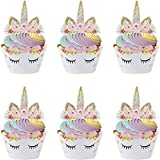 Nv Wang Cupcake Topper Wrapper,Unicorn Cupcake Toppers 24 Pack Cupcake Wraps...