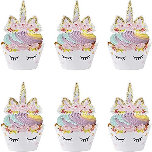 Nv Wang Topper de Gâteau,Licorne Cupcake Toppers et Wrappers 24 Pièces Décorations de Gâteau pour Les Enfants Anniversaire Bébé Douche Fête de d'anniversaire Mariage