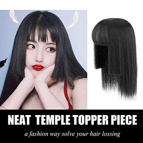 PLEASUR Nahtloses, glattes Haarkronen-Ergänzungsstück mit sauberen Fransen und Bügeln Elegant Princess 's Hairstyle Topper Black