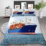 WTWE Juego de funda de edredón 3D cama doble 3 piezas contenedor ship-173 cm × 218 cm impresión gráfica microfibra hipoalergénica ropa de cama