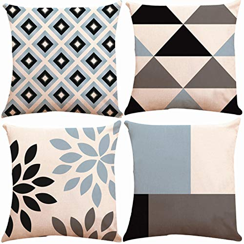 Decorative Throw Pillow Covers 18 x 18 Inch Double Side Design,ZUEXT Set of 4 Cotton Linen Indoor Outdoor Pillow Case Cushion Cover for Car Sofa Home Decor (Navy Aqua Beige Triangle Check,Mix & Match)