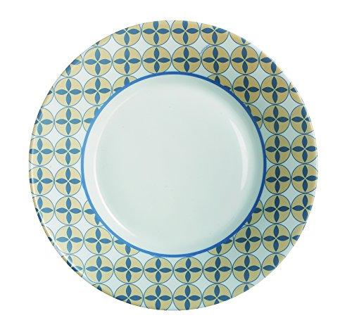 Plate Luminarc Scandie Fruit, Opalo, blanco con decoración amarilla y azul, 22 x 22 x 3 cm (unidad-1)
