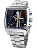 Fanmis Black Dial Mens Automatic Mechanical Analog Oblong Date Silver Stainless Steel Wrist Watch