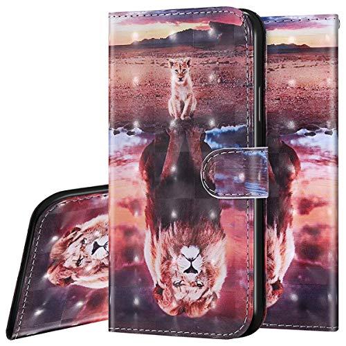 Surakey Etui Coque iPhone X/XS Étui Housse en Cuir Portefeuille Coque Magnétique Flip Cover Fentes de Cartes Dessin Imprimé Pochette Coque Protection avec à Rabat Stand, Tiger