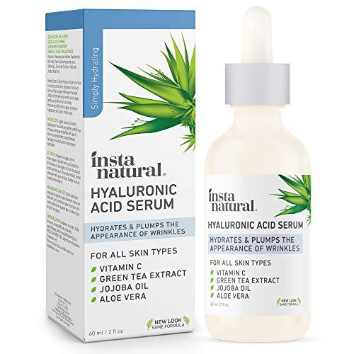 InstaNatural Hyaluronsäure-Serum - Mit Vitamin C, organischen & reinen Inhaltsstoffen - Gegen Falten, Linien und Augensäcke - Hochwertiger Anti-Aging Feuchtigkeitsspender für Sie & Ihn – 60 ml
