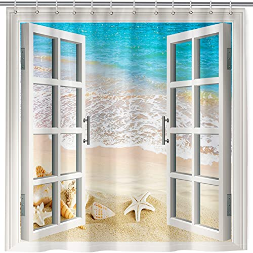 ANHOPE Beach Shower Curtain, Tropical Ocean Shell Starfish Conch Through White Wooden Window Scene Print Pattern Bath Curtain Waterproof Fabric Bathroom Bathtub Decor Set with 12 Hooks 72 x 72 Inch