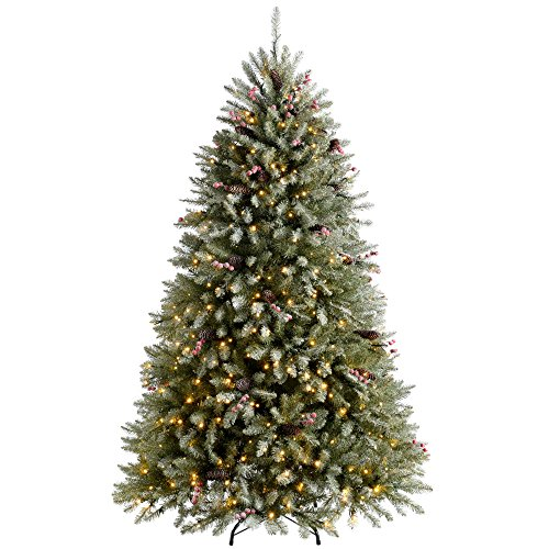 WeRChristmas Pre-Lit Decorated Snow Flocked Christmas Tree with 500 Warm White LED Lights, Green, 6 feet/1.8 m