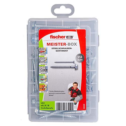 fischer 553348 Meister-Box mit dem passenden Schraubensortiment zu vielen Dübeln, 112 Schrauben, grau