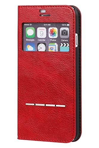 CERTAFLIPiPhoneSE2020第2世代/8/7/6s/6手帳型ケース窓付き/レッド
