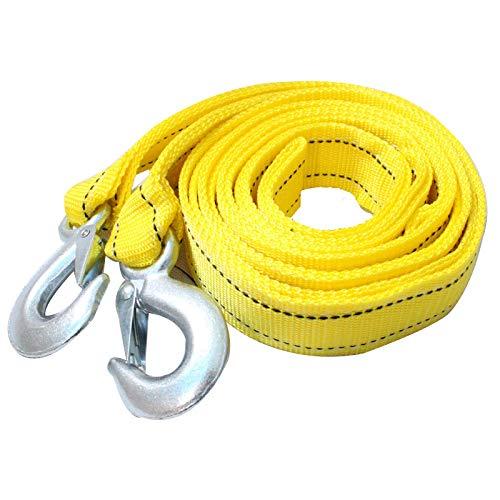 MOC Cuerda de remolque, 5 toneladas, 4 metros, correa de remolque, suministro de emergencia para coche, cable de arranque, con 2 ganchos, reforzada