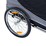 PawHut Steel Dog Bike Trailer Pet Cart Carrier for Bicycle Jogger Kit Water Resistant Travel Grey and Black 16
