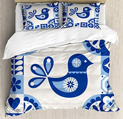 Juego de funda nórdica de arte popular, Azulejo dulce Azulejo con diseño...