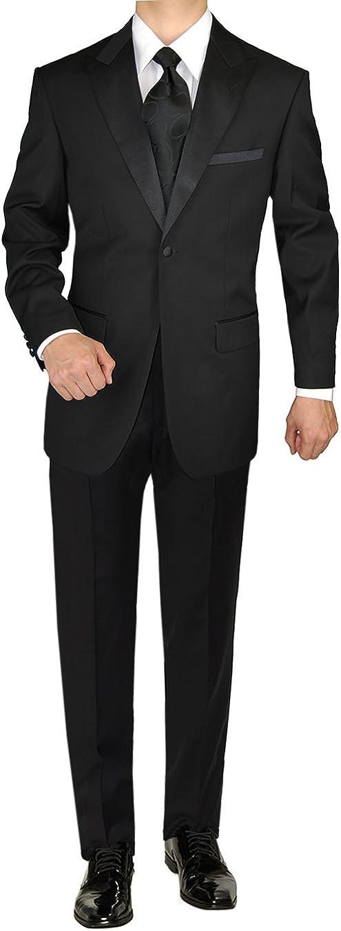 GN GIORGIO NAPOLI Men's Tuxedo Suit 1 Button Peak Lapel Jacket Adjustable Pant