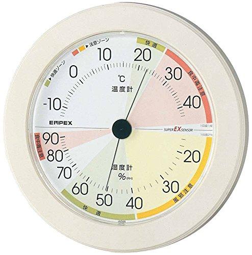 エンペックス気象計 温度湿度計 高精度ユニバーサルデザイン 壁掛け用 日本製 ホワイト EX-2861