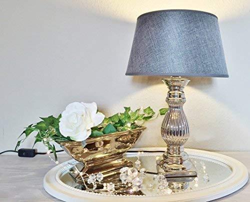 DRULINE Steffi 47cm Tischlampe Silber GRAU Keramik Tischleuchte Lampe KE-003TL