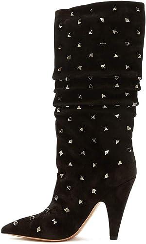 ¥schuhe Damen Damen Damen Rein Niedrig-Spitze Spitz Zehe Hoher Absatz Stiefel Match Nieten Schuhe  Schau dir die billigsten an