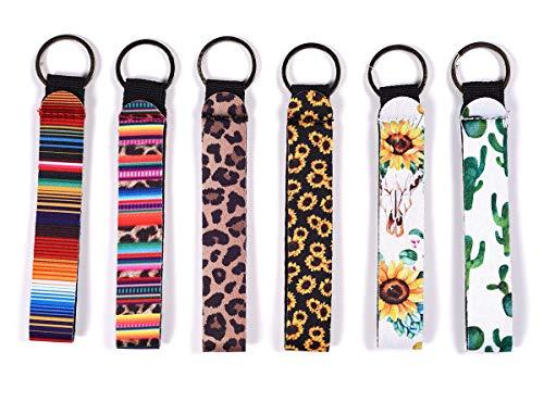 6 Pack Neoprene Wristlet Keychain, Hand Wrist Lanyard Keychain for Girls/Women