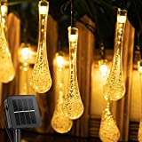 Outdoor Solar String Lights 25.7 Feet 40 Led Water Drop Solar Powered Lights with 8 Modes, Waterproof Fairy Crystal Lights for Patio Garden Yard Tree Wedding Party Decor (Warm White)