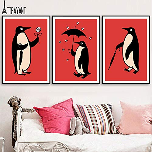UIOLK HD Canvas Painting Poster Vintage Penguin Umbrella Flower Heart Nursery Wall Art Canvas Painting Nordic Poster and Printmaking Wall Home Retro Art Poster