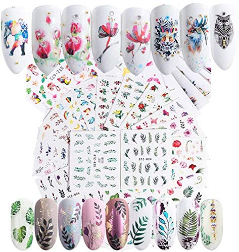Water Transfers Nail Art Stickers Decals Self Adhesive for Women Girls Gel Nails Art Design - Colorful Flowers Animal Gold and Silver Butterfly Stars Feather Pattern Mixed (59pcs)