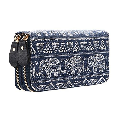 Damen Lang Geldbörse Reißverschluss-Brieftaschen groß Kapazität Canvas Geldbeutel Tasche Damen Portemonnaie (Elefant)