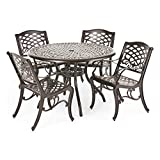 Covington Antique Bronze 5-Piece Cast Aluminum Dining Set