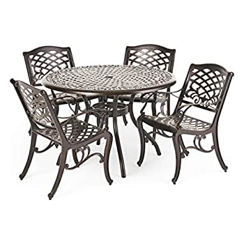 Christopher Knight Home Hallandale Outdoor Cast Aluminum Dining Set for Patio or Deck 5-Pcs Set Hammered Bronze