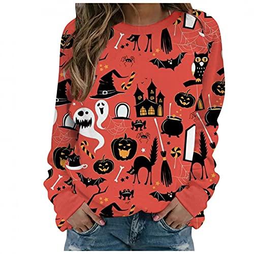 Sweatshirt Damen Halloween Motiv Drucken Pulli CasualElegant Bluse Herbst Angenehm Weich Tee Baggy Atmungsaktiv Damenblusen übergangs Blusentop Streetwear