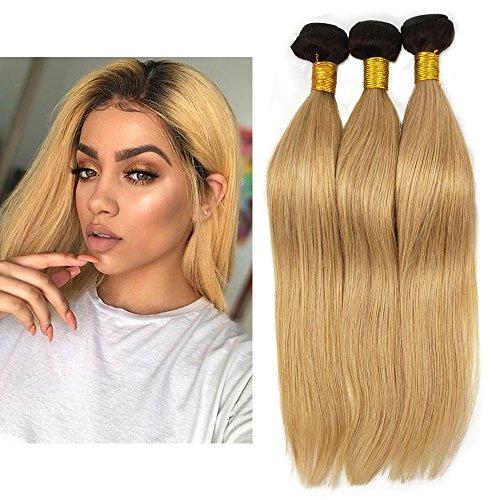 Mila 3 Tissage en Lot Lisse Bresilienne Vierge Cheveux Ombre 1B/27# Blond Miel Tissage 100% Naturel Remy Humain Cheveux Extensions (22\