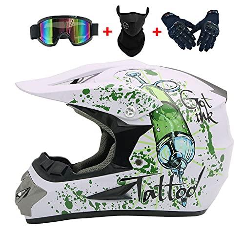YXST Casco Moto,Casco De Esquí Certificado CE con Gafas/Guantes Forro Desmontable Especializado Resistente, Transpirable para Esquí, Patineta, Protector 52-59cm,1,S