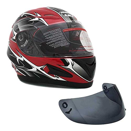 MMG 118 Motorcycle Full Face Helmet DOT Street Legal +2 Visors Comes with Clear Shield and Free Smoked Shield, Medium, Spikes Red