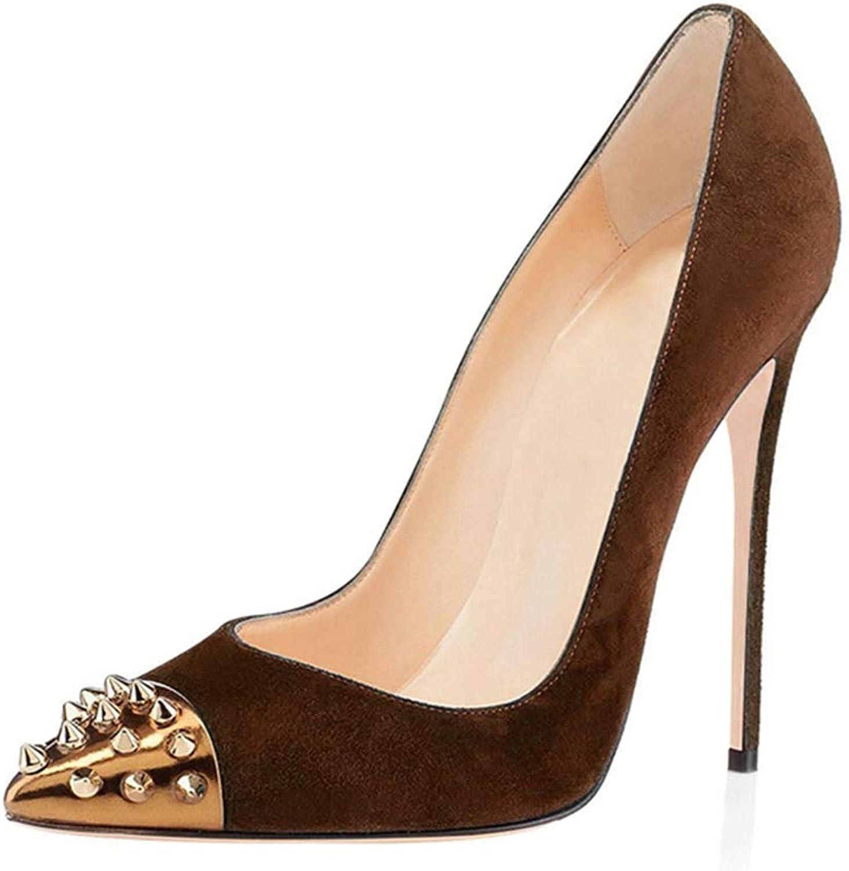 Women's shoes Sandal Wedding Party Pump gold Rivet Pointed Toe Brown Single shoes