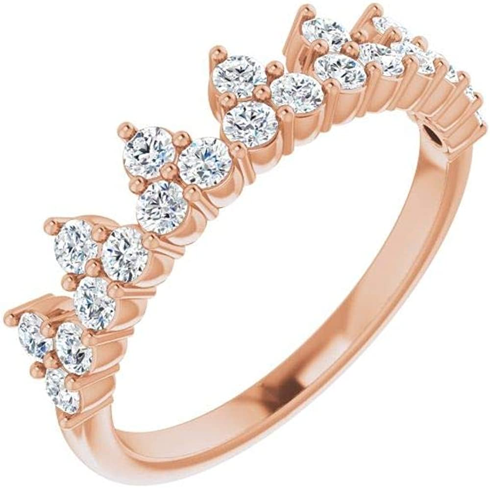 Solid 14k Rose Gold 5/8 Cttw Lab-Grown Diamond Stackable Wedding Anniversary Ring Band (.63 Cttw) (Width = 4.5mm) - Size 5.5