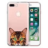 FINCIBO Case Compatible with Apple iPhone 7 Plus/iPhone 8 Plus, Clear Transparent TPU Protector Case Cover Soft Gel for iPhone 7 Plus / 8 Plus (NOT FIT iPhone 7/8) - Spotted Brown Bengal Cat