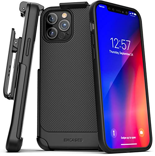Encased Compatible with iPhone 12 Pro Belt Clip Case (Thin Armor) Slim Grip Cover with Holster - Black
