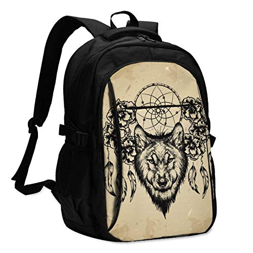 XCNGG Magic Wolf Dream Catcher Travel Laptop Backpack with USB Charging Port Multifunction Work School Bag