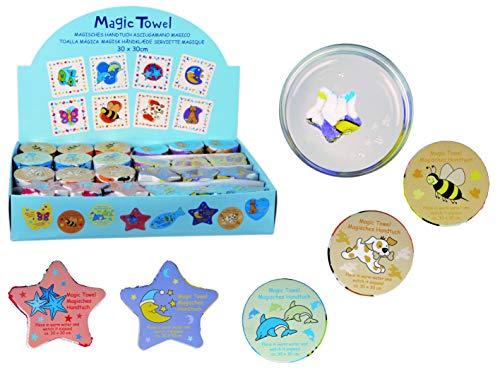 8er Set Magisches Zauber-Handtuch Tier Motiven Waschlappen Kinder-Geburtstag Mitgebsel Geschenk-Idee Party Gewinn Spiel Give-aways (8er Set Tiere)