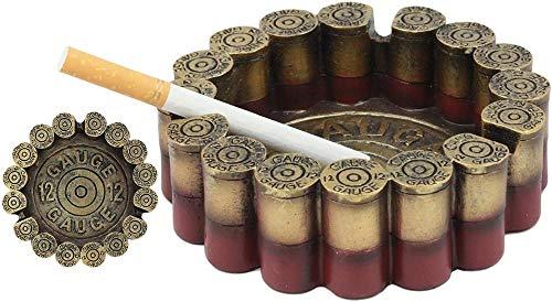 Western Cáscaras de escopeta de calibre 12 Cenicero de cigarrillo redondo Figurilla 4 5 Diámetro para tiradores Caza Amantes y fanáticos del aire libre Cenicero decorativo