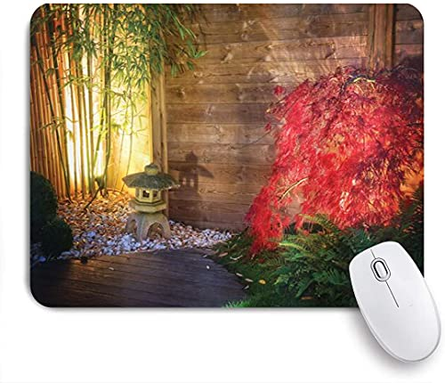 VINISATH Gaming Mouse Pad for Computer Garden Japanese Stone Lantern and Red Maple Tree in an Autumnal Garden Bamboo Trees Non-Slip Base Desktop Laptop Mouse Pad Waterproof Desk Pad for Work Office