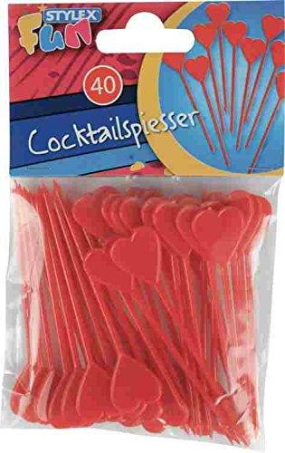 Stylex - 2051268 - Pics À Cocktail Herz en Rouge - 40 Pièces
