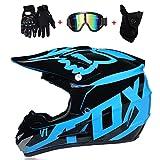 Casco de Motocicleta de Cara Completa, Motocross, Guantes Motocicleta para Adultos, Gafas, máscara de 4 Piezas Set L (59~60CM) Azul Negro