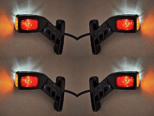 Lot de 4 feux de position latéraux LED 12V / 24V fixation au châssis pour camions et camions bennes - Rouge/Blanc/Orange